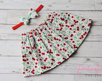 Cherry Skirt, Girl's Skirt, Baby Skirt, Toddler Skirt, Skirt Set, Baby Girl Skirt, Girl Skirt Set, Red Baby Skirt, Girl's Cotton Skirt