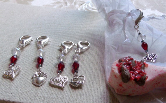 Heart charm zipper pulls - Silver heart  memento - deep red Bridal gift - Mothers day gift from kids -  wedding favors - Valentine - Journal