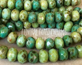 8mm x 6mm Czech Glass Picasso Bead Spacer Faceted Rondelle Rondell (25) Beachy Bohemian Rustic Turquoise Green Mix - Central Coast Charms