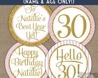 Personalized Birthday Cupcake Toppers - Pink & Gold Glitter Printable Birthday Party Toppers, Favor Tags or Stickers - PGL