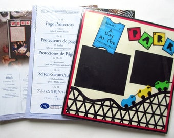 Creative Memories Black Scrapbook Pages, Page Protectors Old Style 12 x 12 + Wilton Pre-made Day at the Amusement Park Pages