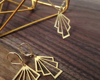 Deco Fan, Earrings in Gold