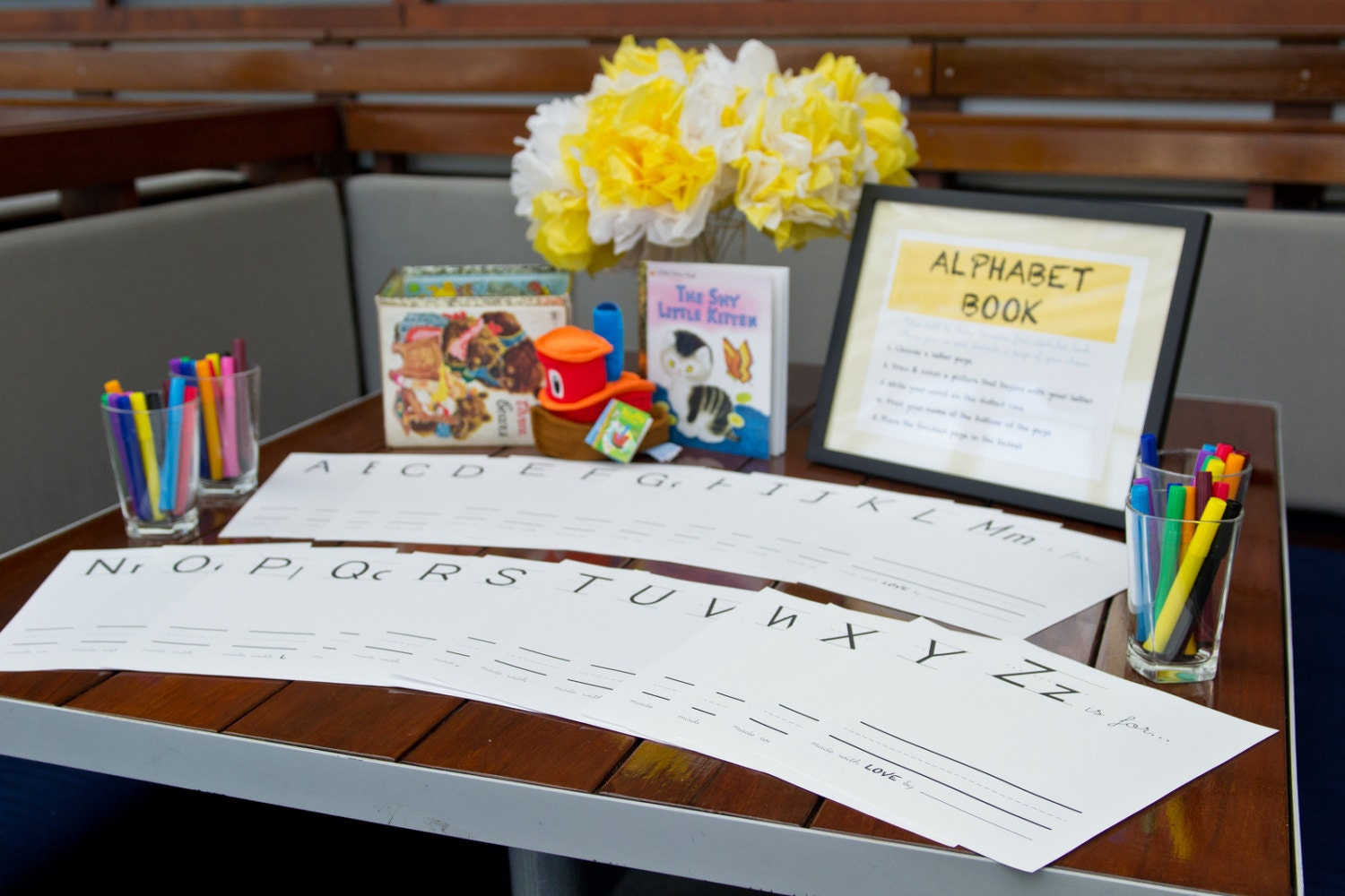 Alphabet Coloring Pages Baby Shower : A z letter mini book practice printable free