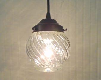 Portage Port. Vintage SWIRL Light Made PENDANT New