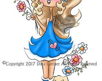 Instant Download Digital Stamp Digi Stamp Blossom Curly Girls by Dina Gerner