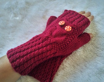Unusual Fingerless Chunky Mittens Knitted Gloves Red Owl