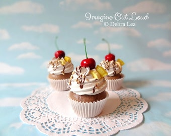 Fake Cupcake Handmade Banana Split Cupcake with Whipped Cream, Banana, Pineapple and Cherry on top Kitchen Decor food Prop Display