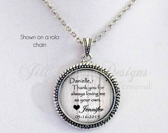 """STEPMOM - """"Thank you for always loving me as your own"""" - personalized necklace - wedding date necklace- gift for Stepmom from Bride, Groom"""