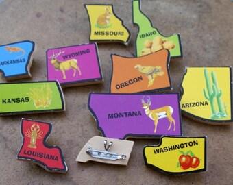 State Puzzle Piece Pin Brooch: Washington, Montana, Missouri, Arizona, Idaho, Oregon, Arkansas, Louisiana, Wyoming, Kansas