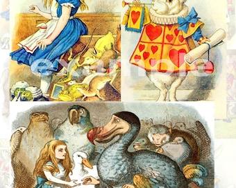 Vintage Tenniel Alice In Wonderland Digital Collage Sheet 1