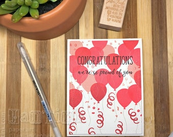 Congratulations Balloon Graduation Fancy Greeting Card Handmade in Red Pink Black for Son Daughter Niece Nephew Friend Coworker