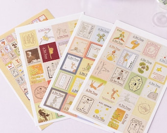 4 SHEETS, The Little Prince sticker, Le Petit Prince sticker, Stamp Sticker Set, Le Petit Prince, The Little Prince, Sticker set 1