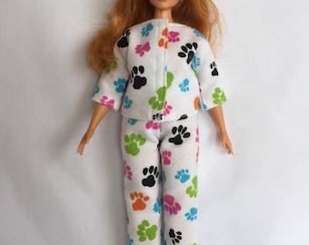 Handmade Curvy Barbie Clothes Paw Print Flannel Pajamas Designs by P D Reneau (Q1417)