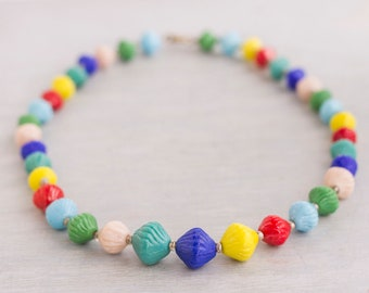Colorful Glass Beads Necklace - Short Collar Rainbow Candy Necklace - Vintage Summer Jewelry