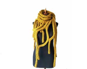 Unisex Chunky  Scarf - Mustard Scarf - Cobweb Shawl - Hand Knit Scarf - Extra Long Scarf - Chunky  Scarf - Hand  Knit Poncho - Wool Scarf