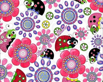 """Quilting Treasures """"Lazy Little Ladybugs"""" 24386-X Floral Fabric Priced Per 1/2 Yd."""