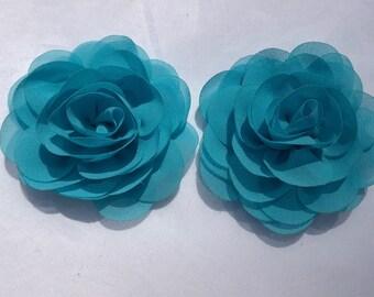 Blue Rosette, Chiffon Flower, Blue Flower,  Flower Crown, Flower Headband, Flower Hair Clip, DIY Flowers, 3.25 inch Flower