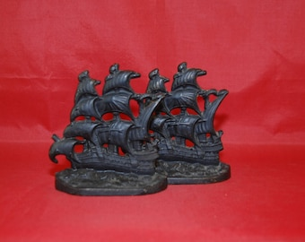 English Galleon Cast Iron Bookends