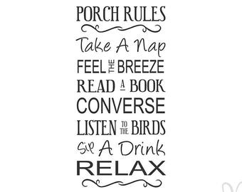Porch Rules - Instant Download File - svg / jpg / Studio3 / PDF