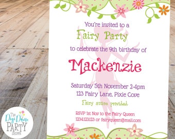 Fairy Garden Party Printable Invitation, 5x7in - Pink and Green - Double-Sided - Instant Download - Girls Birthday Parties