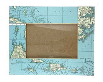 Repurposed Atlas Page Picture Frame- The Caribbean