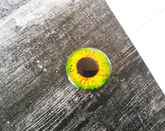 Eye Cabochon Round Glass Cabochon 25mm Flat Back Cabochon Dragon Eye Green Yellow Orange Eye Cabochon