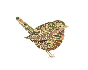 "Wren made from pressed Fern leaves - 10"" x 10"" Square Fine Art Giclée Print - Hand finished - Herbarium Bird Artwork"