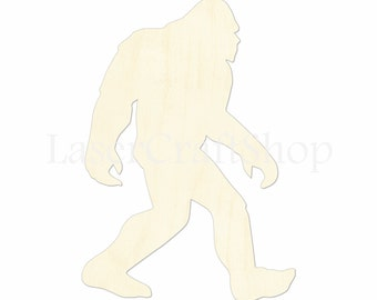 "2"" - 34"" Bigfoot Yeti Wooden Cutout Shape, Silhouette, Gift Tags Ornaments Laser Cut Birch Wood  #1172"