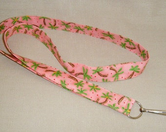 Palm trees with coral background - handmade fabric lanyard