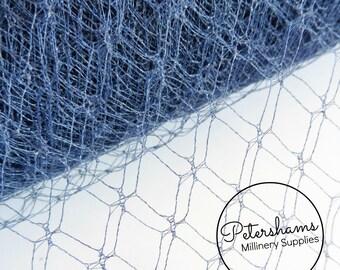 1940s / 1950s Vintage French Millinery Veiling for Fascinators, Wedding Veils 1 Metre - Slate Blue