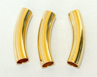 25 GOLD Curved Noodle TUBE Beads - 23X5mm with Large 3.8mm Hole Tube Findings - Beading Tube - USA Seller - Instant Shipping - Ref 4828