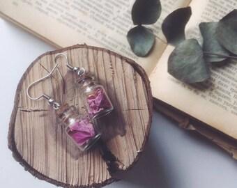 Peony petals earrings - Real peony flower, Pink jewelry, Wedding, Bridesmaid earrings, Bride, Bridal Pink peony Botanical, For her, Flower