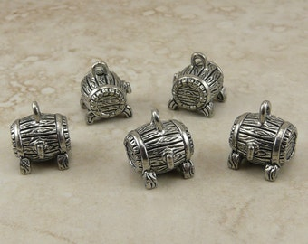 5 Beer Barrel Charms > Craft Brew Brewery Home IPA Wine Whiskey Raw Unfinished American Made Lead Free Silver Pewter International Ship
