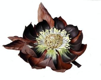 Magnolia flower, Leather Magnolia, Leather Fascinator, leather corsage, leather flower pin, brown brooch, genuine leather