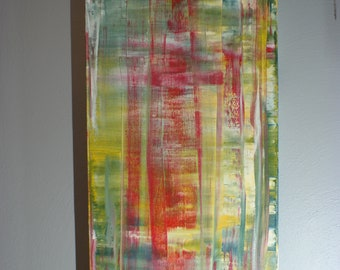Inspired by Gerhard Richter Original Fine Modern Art Abstract Painting Red medium sized