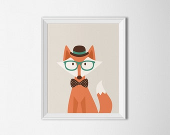 Hipster Fox Printable Kids room Fox Wall art Fox poster fox Nursery Fox art print Retro wall art Indie hipster art Forest Woodland animal