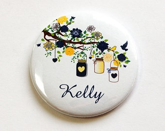 Pocket mirror, Personalized pocket mirror, custom pocket mirror, bridesmaid gift, mirror, purse mirror, bridal shower favor (4634)