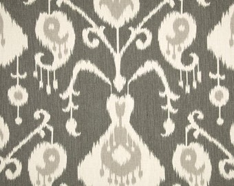 Java Pewter cotton fabric by the yard ikat Magnolia Home Fashions