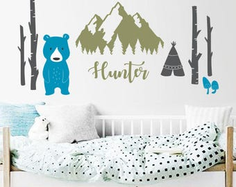 Mountains, Bear, Tree, Teepee with Name Decal, Custom Name Decal Nursery or Kids room - Personalized Wall Decal and Wall decor