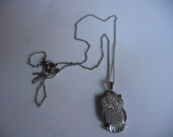 Vintage 1970s to 1990s Pewter Hand Engraved Owl Necklace Small Woman/Teens Sterling Silver Chain