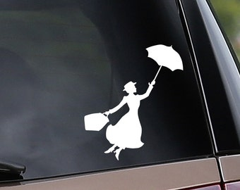 Mary Poppins Inspired Vinyl Car Decal - Nanny - Practically Perfect - Car Window Decal - Laptop Decal - Bumper Sticker
