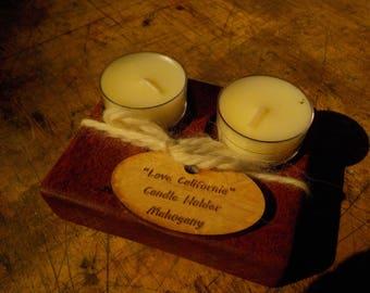 "Mahogany ""Love California"" Candle holder"