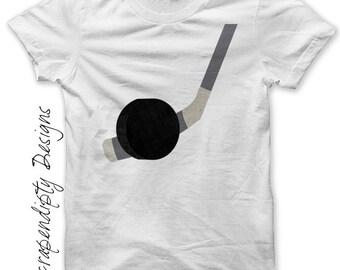 Iron on Hockey Shirt PDF - Sports Iron on Transfer / Hockey Mom Shirt / Hockey Stick and Puck Printable / Boys Birthday Party Decor IT358