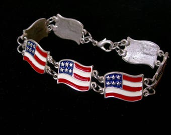 Vintage USA Waving Flag Panel Bracelet Enamel Red White Blue Stars Stripes Americana Patriotic Collectible Jewelry July 4th Independence Day
