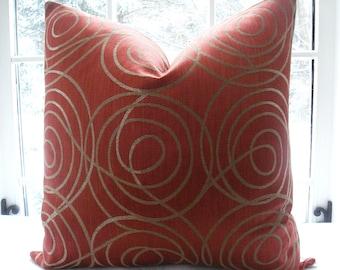 Designer Decorative Pillow Cover - Throw Pillow-Accent Pillow - Rusty/Tangerine /Gold