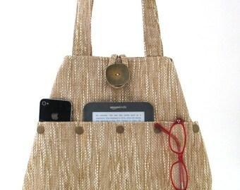 fabric shoulder bag , womens handbag, Tan tote bag converts to hobo bag, tapestry purse, handmade handbags, vegan bag,