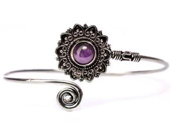 Boho Tribal Bangle Amethyst  Gemstone Bracelet Adjustable Gift Boxed + Giftbag + Free UK Delivery WBB7