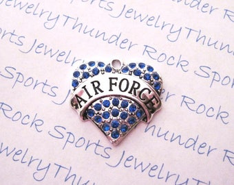 AIR FORCE Charm, Antique Silver, blue crystals, Pendants, MILITARY, Armed Forces, Soldier Mom, hearts