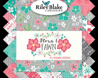 Flora & Fawn 2 1/2 Inch Strips Jelly Roll, 40 Pieces, Quilted Fish, Riley Blake Designs, Precut Fabric, Quilt Fabric, Cotton Fabric