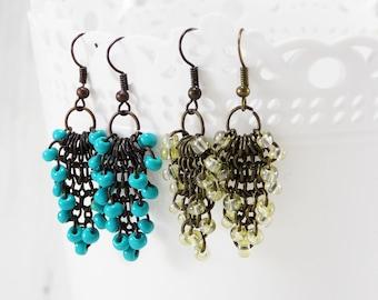 Tassel turquoise earrings chainmail jewelry handmade earrings chainmail earrings lace earrings everyday bead earrings green wire earrings